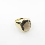 Gent's 18ct yellow gold unisex smokey quartz dress ring