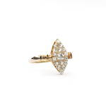18ct rose gold antique marquise style diamond set cluster ring