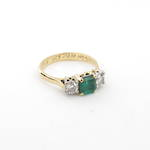 18ct yellow and white gold natural emerald and diamond set ring