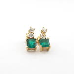 18ct yellow and white gold natural emerald and diamond drop earrings
