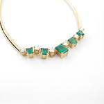 18ct yellow and white gold natural emerald and diamond necklet