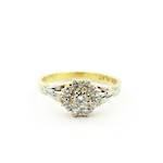 18ct yellow gold and platinum diamond cluster ring
