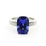 Platinum tanzanite and diamond set dress ring