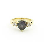 18ct yellow gold heart shaped mystic topaz and CZ ring