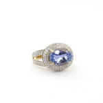14ct yellow gold tanzanite and diamond set cluster ring