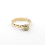18ct yellow and white gold green diamond solitaire ring