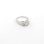 18ct white gold princess cut 3 stone diamond set ring