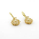 21ct yellow gold diamond cluster drop earrings
