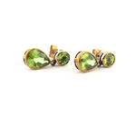 9ct yellow gold green tourmaline drop earrings
