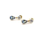 18ct yellow gold and platinum diamond and tanzanite drop earrings
