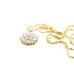 18ct yellow gold and rhodium diamond cluster pendant