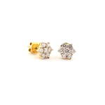 18ct yellow gold and rhodium diamond cluster earrings