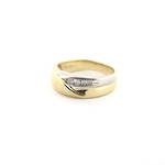 Men's 9ct yellow and white gold diamond set ring