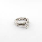 14ct white gold diamond solitaire ring with matching wedding band set