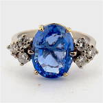 18ct white gold ceylon sapphire and diamond set ring
