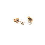 9ct yellow gold diamond stud earrings with screw backs