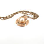 9ct yellow gold antique cultured pearl set pendant