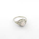 18ct white gold art deco solid opal and diamond set ring
