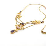 9ct yellow gold antique amethyst and seed pearl necklace