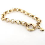 9ct yellow gold alternating smooth/engraved belcher link bracelet