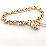 9ct yellow gold belcher link bracelet set with flower pattern heart padlock