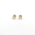 18ct yellow gold diamond stud earrings with screw backs