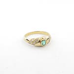 18ct yellow gold natural emerald and diamond set ring