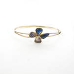 14ct yellow gold solid opal flower style hinged bracelet