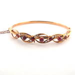 15ct yellow gold synthetic ruby and diamond antique hinged bangle