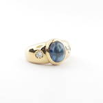 18ct yellow gold cabochon cut sapphire and diamond ring