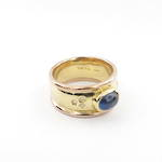 18ct yellow/9ct rose gold cabochon sapphire and diamond ring