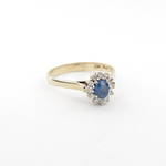 9ct yellow and white gold ceylon sapphire and diamond cluster ring