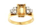 18ct yellow gold golden topaz and diamond set dress ring