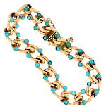 9ct rose gold antique hollow fancy link turquoise stone set bracelet